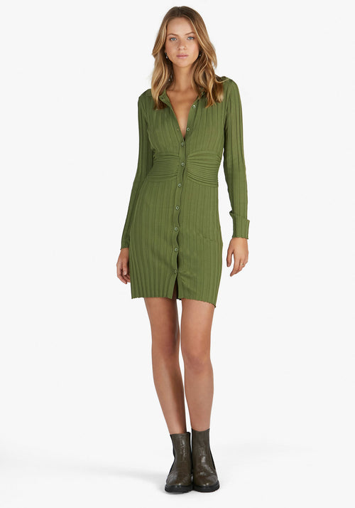 Sami Knit Polo Dress Sage