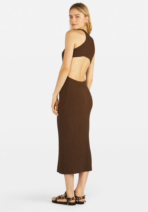 Sideshow Racer Back Rib Dress Chocolate