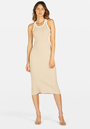 Sideshow Racer Back Dress Contrast Beige/Ivory
