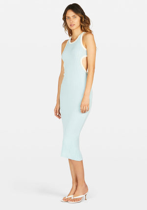 Sideshow Racer Back Dress Contrast Light Blue/Ivory