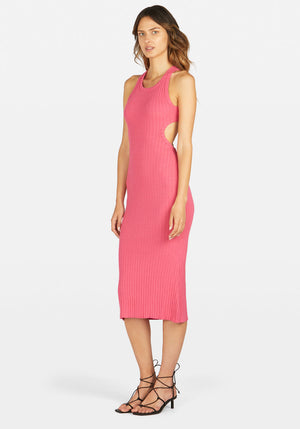 Sideshow Racer Back Rib Dress Hot Pink