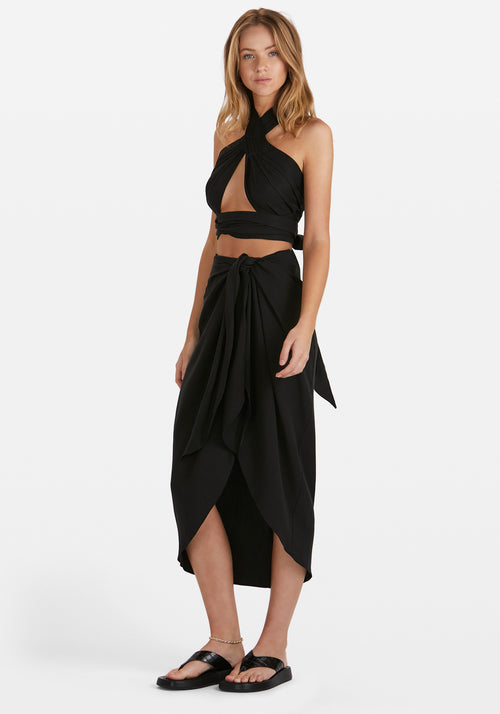 Sim Wrap Sarong Skirt Black