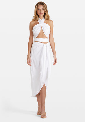 Sim Wrap Sarong Skirt White