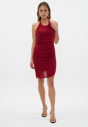 Soleil Knit Halter Dress Berry