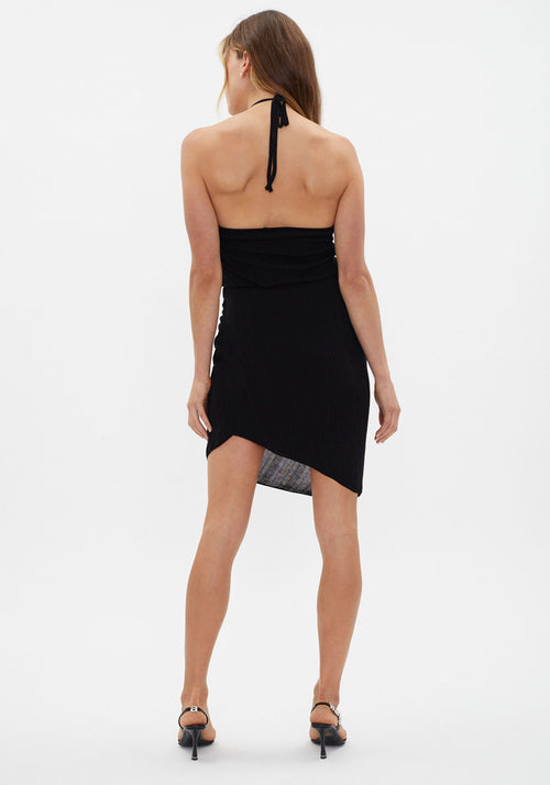 Soleil Knit Halter Dress Black