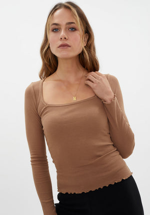 The Square Neck Rib Top Almond