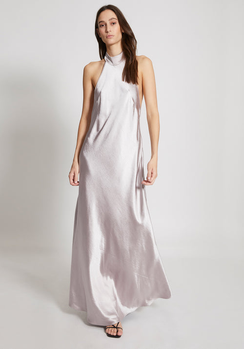 The Paris Halter Dress Silver