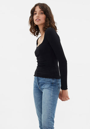 The Square Neck Rib Top Black