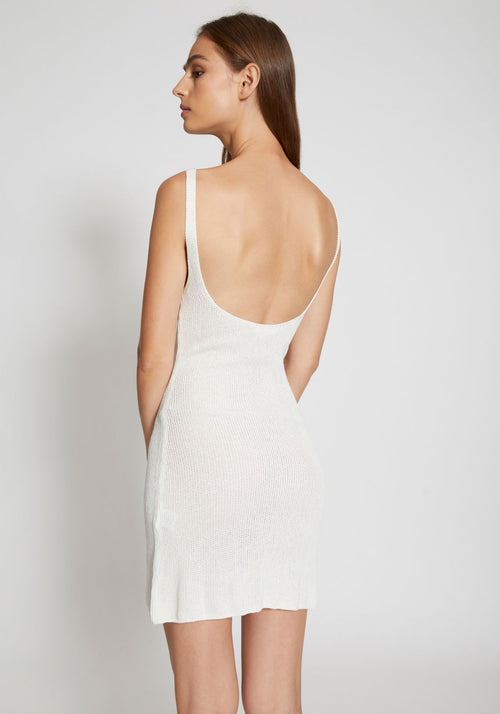 Vanuatu Open Knit Scoop Back Dress Ivory