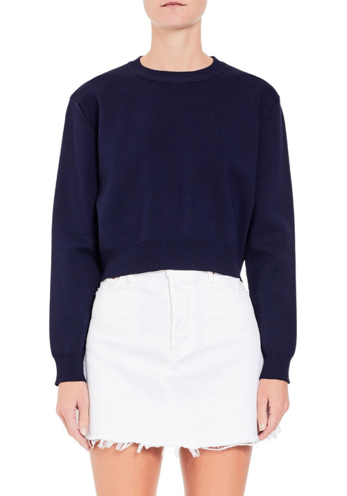Crepe Knit Crop Sweater