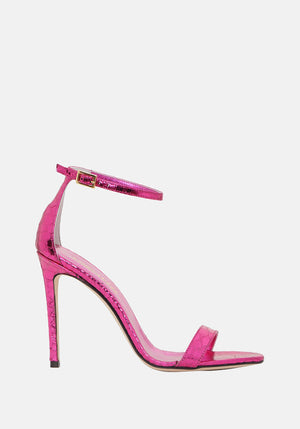 Mirrored Python Print Nudist Heel Fuchsia