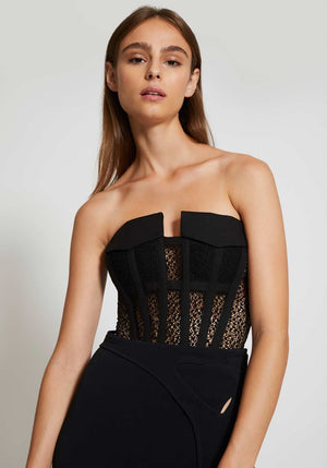 Lace Pocket Corset Black