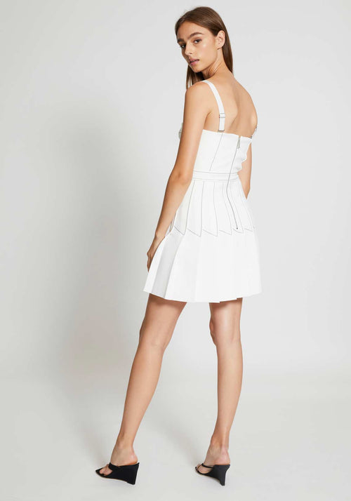 Column Pleat Mini Dress Ivory