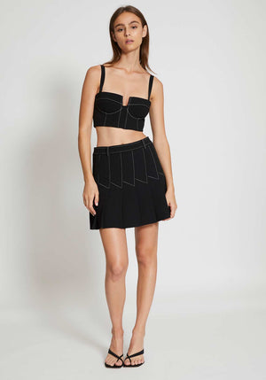 Column Pleat Mini Skirt Black