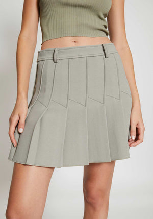 Column Pleat Mini Skirt Putty