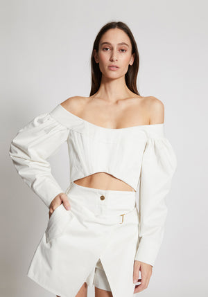 Convex Twill Bustier Ivory