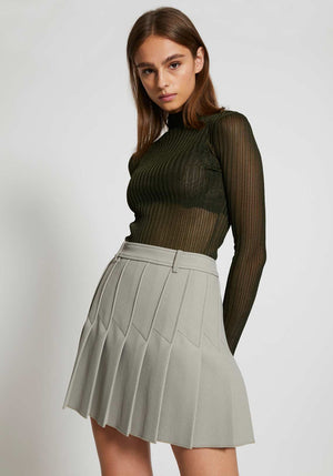 Corrugated Sheer LS Top Olive