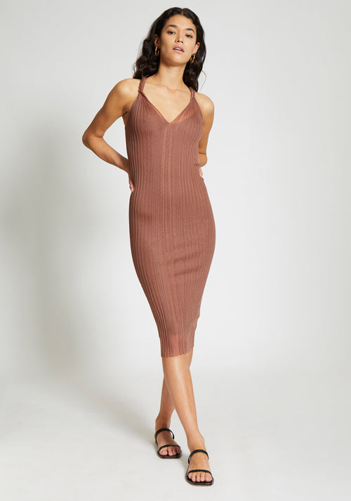 Sheer Pleat Twist Tank Dress Copper