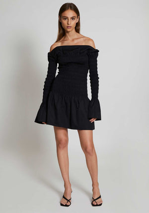 Shirred Mini Dress Black