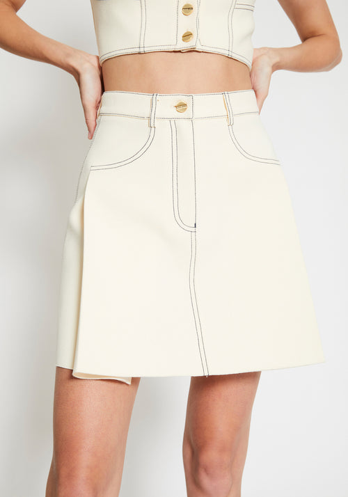 Stitch Tuck Mini Skirt Butter