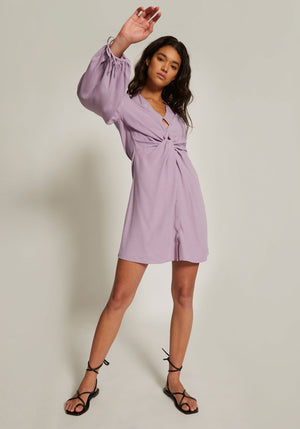 Twist Placket Tunic Dress Violet