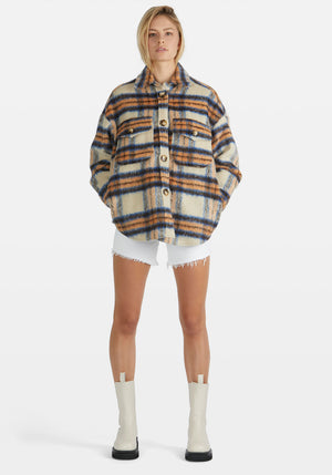Lena Lined Coat Blue/Orange Check