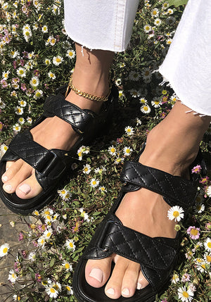 Sonia Quilted Sandal Black