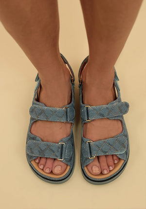 Sonia Quilted Sandal Denim