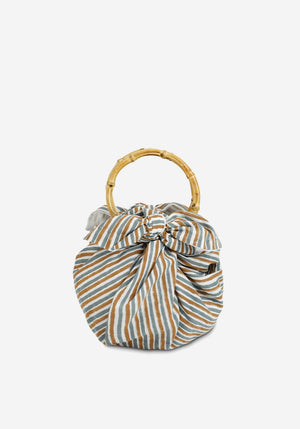 Cotton Dumpling Bag Blue/Brown Stripes