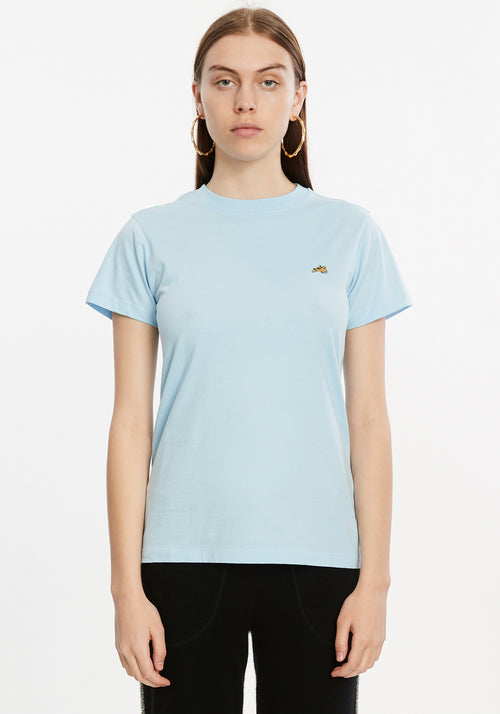 Embroidered Dog T-Shirt Pale Blue