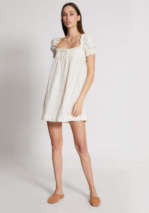 Cherie Mini Dress White Linen