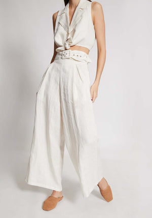 Lena Wide Leg Pants White Linen