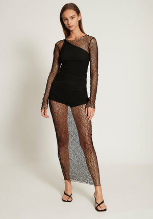 Long Dress Black Mesh