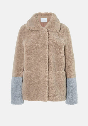 The Annabel Jacket Oatmeal/Powder Blue Teddy