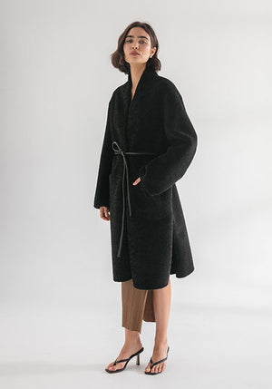 The Lucy Coat Black Faux Shearling