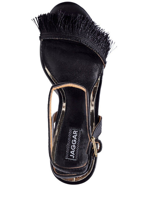 Fringe Leather Heel