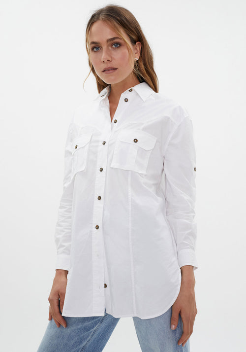Cotton Poplin Top Bright White