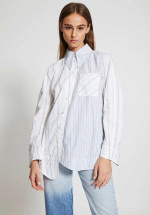 Cotton Stripe Shirt Blue