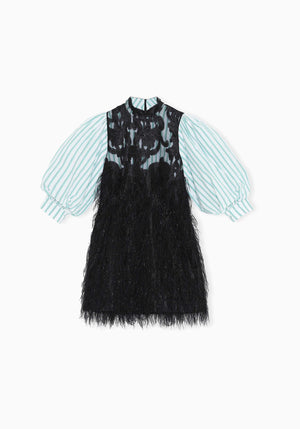 Feathery Cotton Dress Black