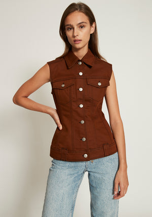 Mixed Denim Top Caramel Cafe