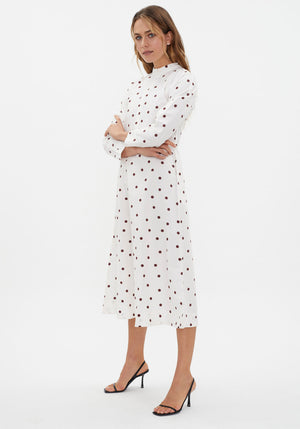 Printed Cotton Poplin Dress Egret