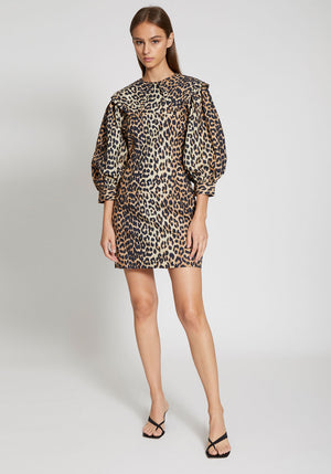 Printed Cotton Poplin Dress Leopard