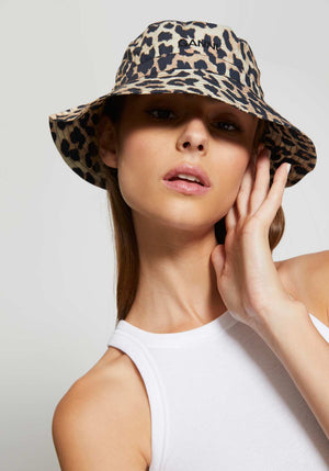 Printed Cotton Poplin Hat Leopard