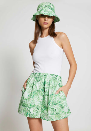 Printed Cotton Poplin Hat Island Green
