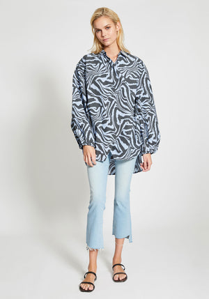 Printed Cotton Poplin Shirt Forever Blue