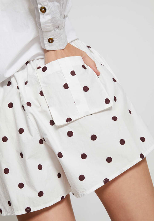Printed Cotton Poplin Shorts Egret