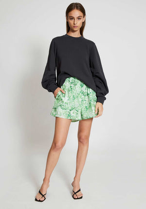 Printed Cotton Poplin Shorts Island Green