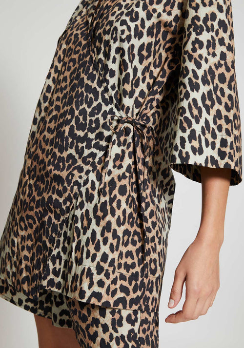 Printed Cotton Poplin Top Leopard