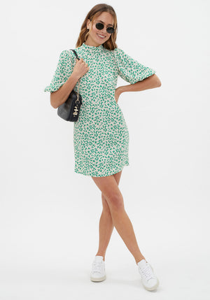Printed Crepe Mini Dress Tapioca