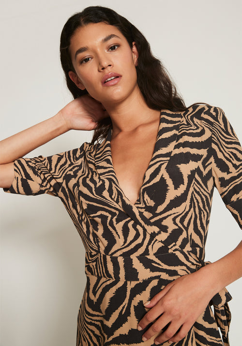 Printed Crepe Wrap Dress Tannin